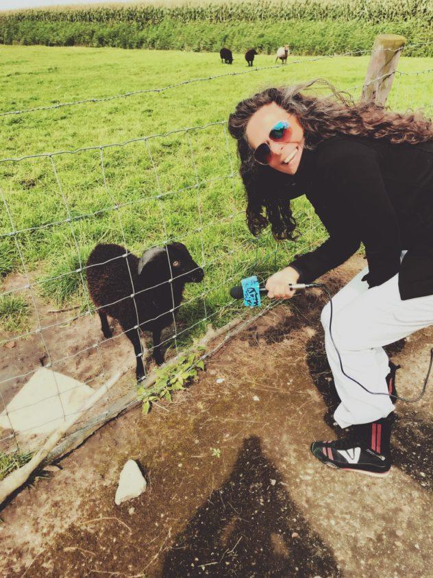 Celesta interviewing a goat